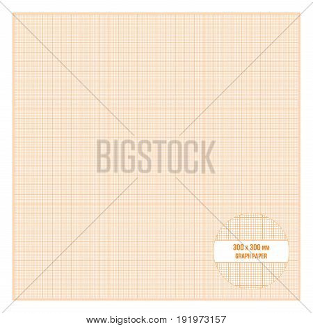 Vector orange printable metric graph paper 30x30 cm size, 1mm grid accented every centimeter