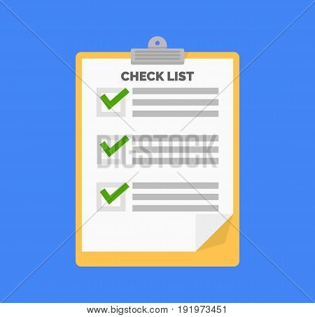 Clipboard and checklist in flat design. Vector stock.