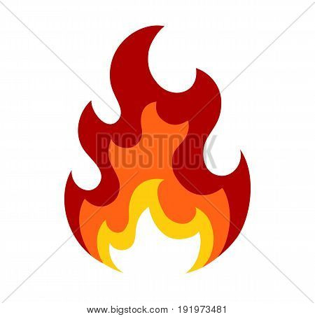 Flame icon in flat style. Isolated on white background. Flame logo. Vector stock.