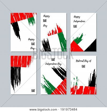 Uae Patriotic Cards For National Day. Expressive Brush Stroke In National Flag Colors On White Card