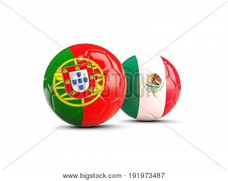 Two Footballs With Flags Of Portugal And Mexico Isolated On White