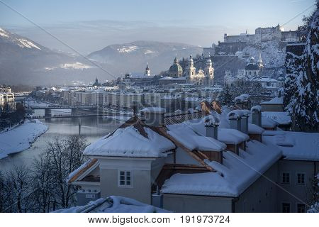 Winter Fairy Tale, Old Town Of Salzburg With Castle