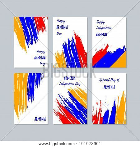 Armenia Patriotic Cards For National Day. Expressive Brush Stroke In National Flag Colors On White C