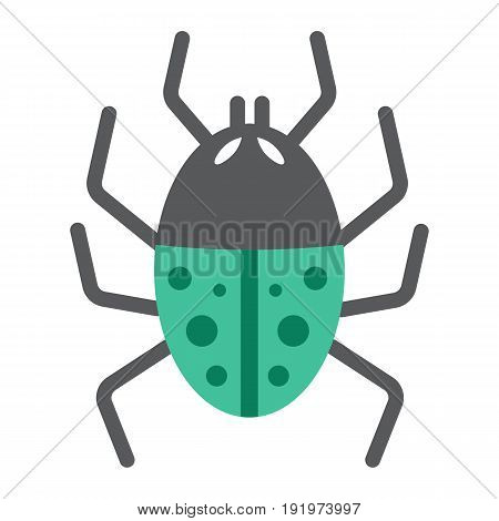 Virus flat icon, infection and security, vector graphics, a colorful solid pattern on a white background, eps 10.