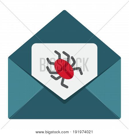 Virus in email flat icon, spam and security, vector graphics, a colorful solid pattern on a white background, eps 10.