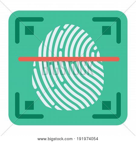 Fingerprint scanner flat icon, id and security, vector graphics, a colorful solid pattern on a white background, eps 10.