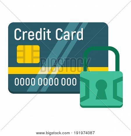 Credit Card with padlock flat icon, protection and security, vector graphics, a colorful solid pattern on a white background, eps 10.