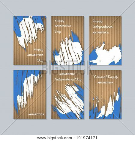 Antarctica Patriotic Cards For National Day. Expressive Brush Stroke In National Flag Colors On Kraf