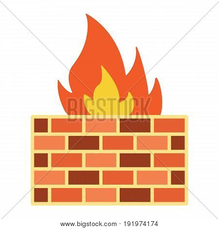 Firewall flat icon, security and brick wall, vector graphics, a colorful solid pattern on a white background, eps 10.