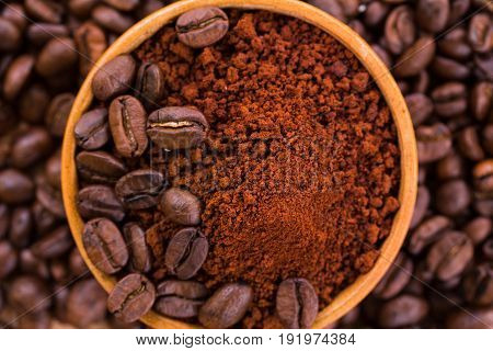 Roasted Brown Coffee Beans And Powder