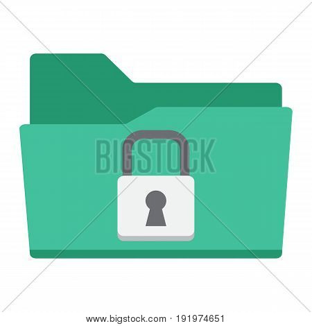 Secure data folder flat icon, security and padlock, vector graphics, a colorful solid pattern on a white background, eps 10.
