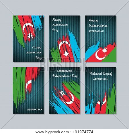 Azerbaijan Patriotic Cards For National Day. Expressive Brush Stroke In National Flag Colors On Dark