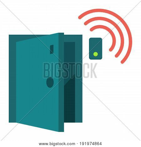 Door sensor flat icon, security and alarm, vector graphics, a colorful solid pattern on a white background, eps 10.
