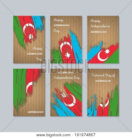 Azerbaijan Patriotic Cards For National Day. Expressive Brush Stroke In National Flag Colors On Kraf