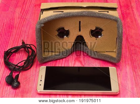 cardboard virtual reality glasses headset front view