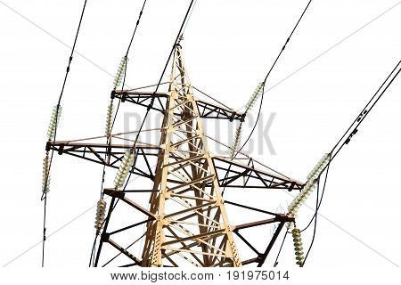Sunny day power transmission line against the sky isolated image