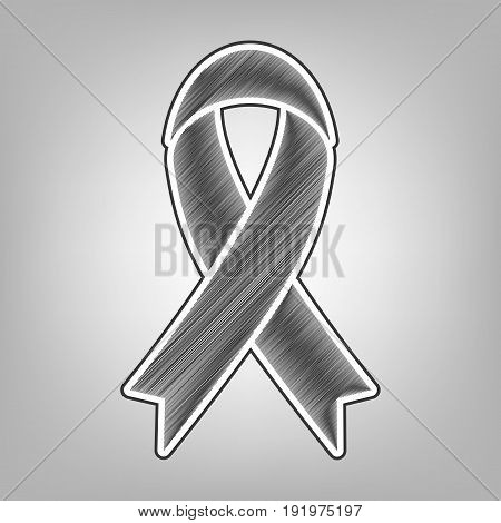 Black awareness ribbon sign. Vector. Pencil sketch imitation. Dark gray scribble icon with dark gray outer contour at gray background.