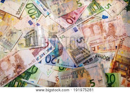 Set of euro banknotes. European money background