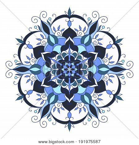 Ornament card with mandala. Circle element made in vector
