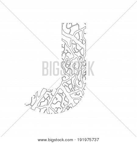 Nature Alphabet, Ecology Decorative Font. Capital Letter J Filled With Leaf Veins Pattern Black On W
