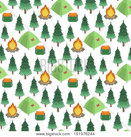 Campsite. Vector seamless pattern. Isolated on white background