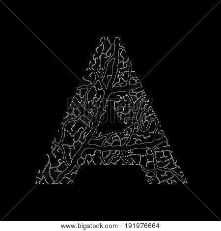 Nature Alphabet, Ecology Decorative Font. Capital Letter A Filled With Leaf Veins Pattern White On B