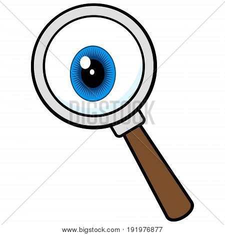 A vector illustration of a Private Eye Magnifying Glass.