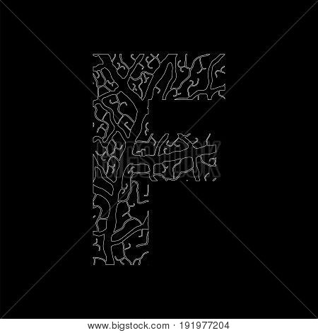 Nature Alphabet, Ecology Decorative Font. Capital Letter F Filled With Leaf Veins Pattern White On B