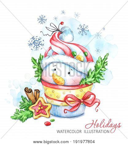 Winter holidays illustration. Watercolor cartoon Snowman with the hat and gingerbread. Christmas, New Year symbol. Can be printed on T-shirts, bags, posters, invitations, cards, phone cases, pillows.