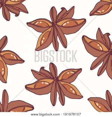 Hand drawn seamless pattern with star anise. Background for cafe, kitchen or food package. Vector illustration