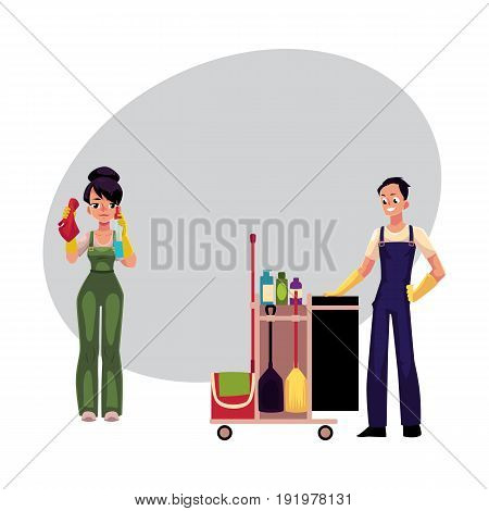 Cleaning service workers in overalls, girl washing windows, man, boy with trolley, cartoon vector illustration with space for text. Cleaning service workers, cleaning trolley, washing windows