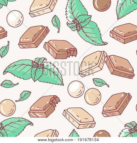 Seamless pattern with hand drawn chocolate and mint flavor. Food background. Vector illustration