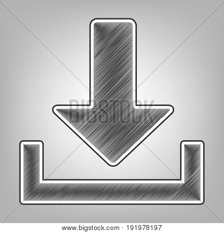 Download sign illustration. Vector. Pencil sketch imitation. Dark gray scribble icon with dark gray outer contour at gray background.