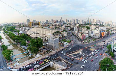 BANGKOK THAILAND - JUNE 12 2017 : View of Bangkok train station or Hua Lamphong Railway Station in the evening