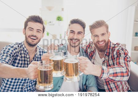Bachelor Men`s Life. Cheers! Close Up Photo Of Three  Happy Handsome Men Celebrating Victory And Cli