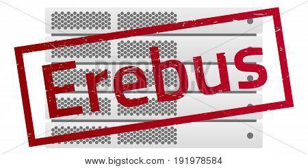 Server rack. Red message Erebus. Virus encryptor ransomware. Editable eps10 Vector. White background.