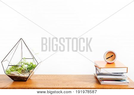 Close up of vase with domestic plant from one side and alarm clock on top of books from other side of table surface. Study concept. Isolated