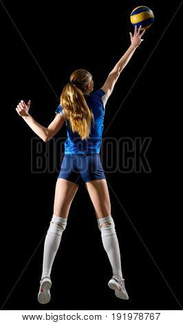 Young woman volleyball player (ver with ball)