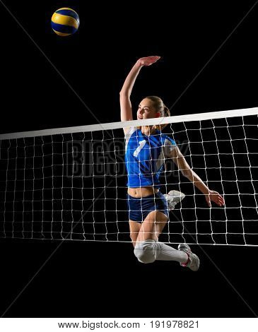 Young woman volleyball player (with ball and net ver)