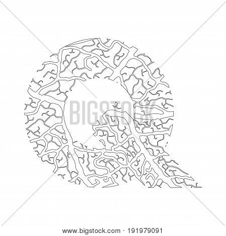 Nature Alphabet, Ecology Decorative Font. Capital Letter Q Filled With Leaf Veins Pattern Black On W
