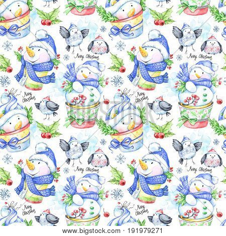 Watercolor seamless pattern with funny snowmens and little birds. New Year. Celebration illustration. Merry Christmas. Can be use in winter holidays design, posters, invitations, cards.