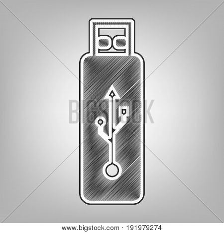 Vector USB flash drive sign. Vector. Pencil sketch imitation. Dark gray scribble icon with dark gray outer contour at gray background.
