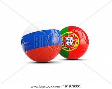 Two Footballs With Flags Of Russia And Portugal Isolated On White