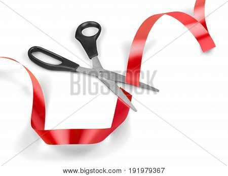 Red white ribbon scissors background view space