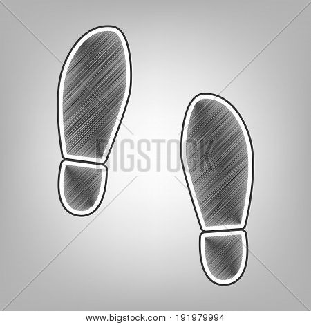 Imprint soles shoes sign. Vector. Pencil sketch imitation. Dark gray scribble icon with dark gray outer contour at gray background.