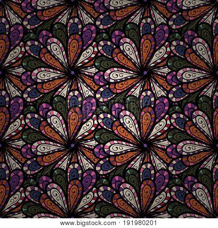 For wedding invitation book cover or flyer. Colorfil background with colored ornament mandala based on ancient greek and islamic ornaments.