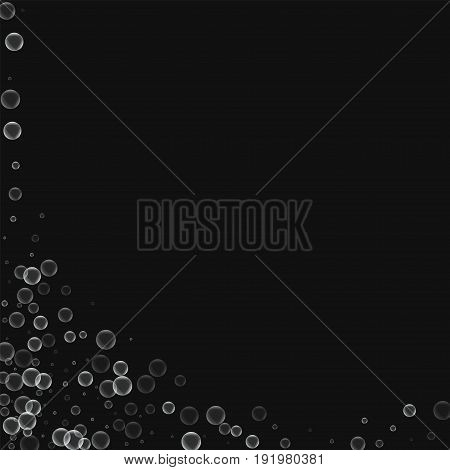 Soap Bubbles. Abstract Left Bottom Corner With Soap Bubbles On Black Background. Vector Illustration