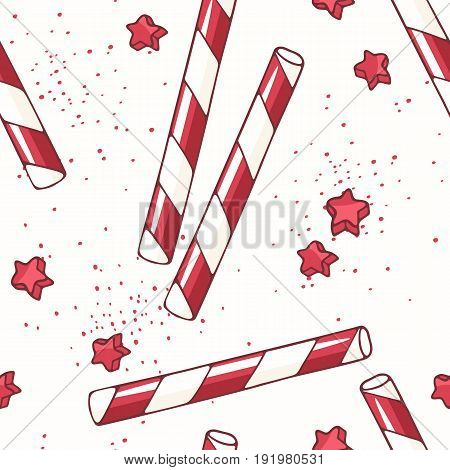 Hand drawn seamless pattern with straw. Background for cafe, kitchen or food package. Vector illustration