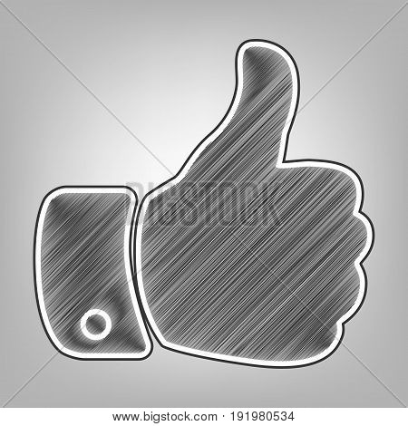 Hand sign illustration. Vector. Pencil sketch imitation. Dark gray scribble icon with dark gray outer contour at gray background.