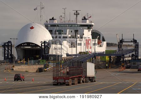 CARIBOU, CANADA - MAY 30, 2017: Confederation ferry undergoing repair. Northumberland Ferries Limited is a Canadian ferry company with it's headquarters located in Charlottetown, Prince Edward Island